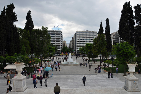 syntagma: ATHENS, GREECE - MAY 6, 2014  People at Syntagma square in downtown Athens, Greece