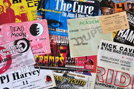 memorabilia: ATHENS, GREECE - JUNE 26, 2014: Vintage live concert ticket stubs alternative indie and punk rock music memorabilia from the 1980s and 1990s.