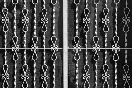 grille: Vintage metal rails with abstract pattern and torn netting background. Black and white.