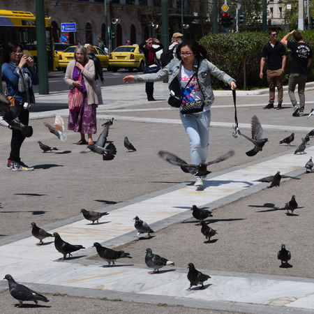 syntagma: ATHENS GREECE  APRIL 22 2015: Young woman chasing pigeons at Syntagma square and tourists enjoying a sunny spring day in downtown Athens Greece. Editorial