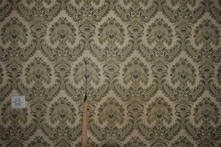 Vintage torn wallpaper pattern and light switch on abandoned house wall. Abstract retro background. photo