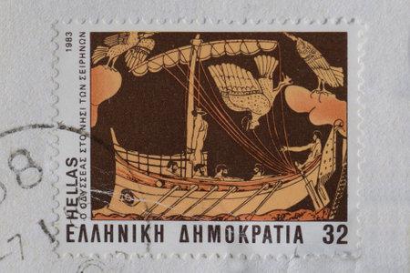 그리스 -1983 년경 : 우주선 돛대에 묶여 율리시 매혹적인 사이렌 노래 신화 생물 절반 여자 절반 조류 하이브 듣고. 빈티지 게시물에서 고대 그리스어