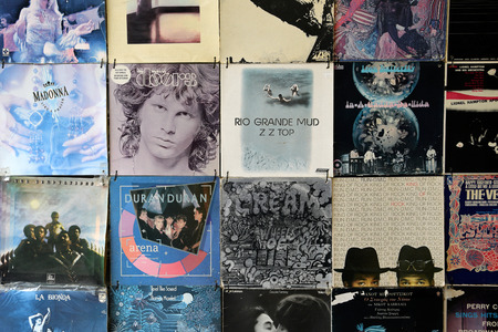 morrison: ATHENS GREECE  APRIL 24 2015: Old faded vinyl records pop and rock music vintage album sleeves background.