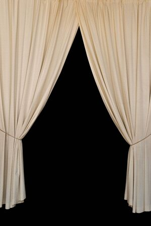 curtain background: Open curtains elegant drapes tied with rope on black background. Stock Photo