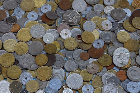 greek coins: ATHENS, GREECE - MAY 31, 2015: Pile of old coins mostly greek drachma lepta and dekares. Antique money background. Editorial
