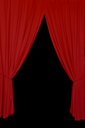 curtain background: Open red drapes tied with rope. Elegant stage curtains on black background abstract design element. Stock Photo