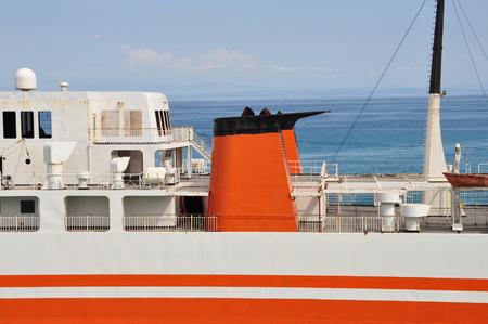 ferryboat: Ferry boat deck. Rust abandoned passenger ship closeup detail. Stock Photo