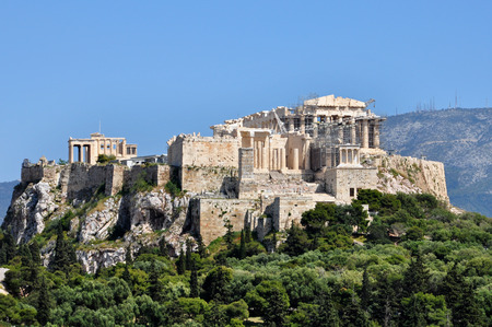 panoramic view: Panoramic view of the Acropolis and Parthenon of Athens, Greece. Stock Photo