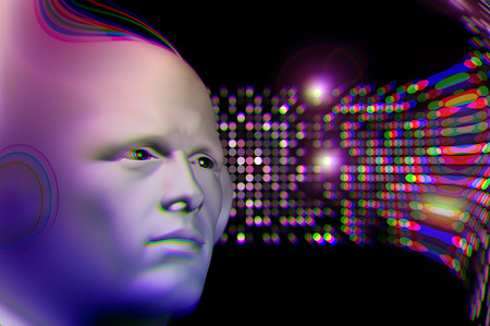 man head: Man listening to music and abstract colorful circles blur. 3d illustration.