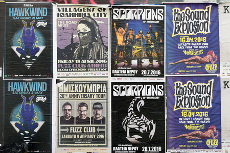 villagers: ATHENS, GREECE - APRIL 9, 2016: Concert posters for live music shows of hard rock by Hawkwind, Scorpions, Villagers of Ioannina City, garage punk by Sound Explosion and the Mongrelettes and hip-hop by Imiskoubria. Editorial