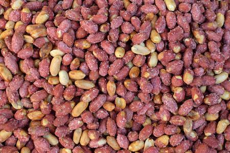 Salted roasted peanuts with red peel. Greek snack food.