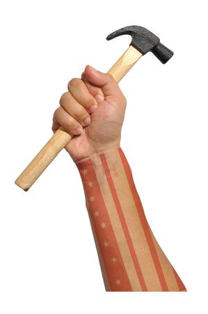 hand with american flag and hammer  photo