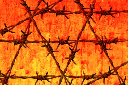 Grunge-Draht mit roten Grunge-Hintergrund
