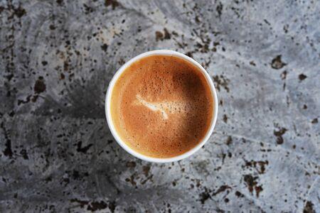 トップ ビュー熱いカプチーノ コーヒー