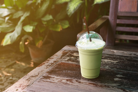 green background: green tea frappe