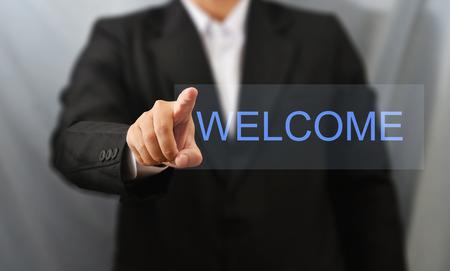 business man touch welcome Standard-Bild