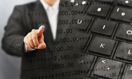 ビジネス人タッチ画面、検索の概念