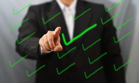 business man touch right Standard-Bild