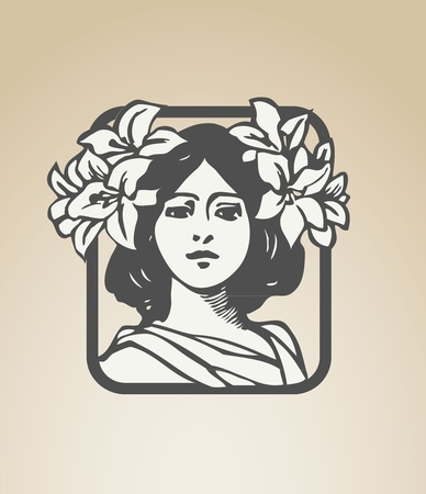 victorian woman: Art deco woman with flowers