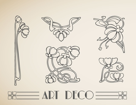 fantasy art:  art deco ornamental flower pattern