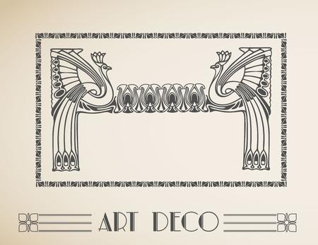 Art deco retro frame with peacock