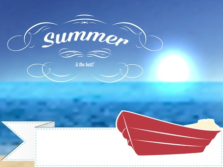 Vector retro summer postcard or poster, background with beach and boat