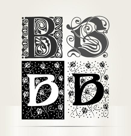 letter b: Vector ornamental letter B sign alphabet