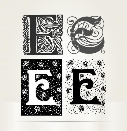 letter e: Vector ornamental letter E sign alphabet