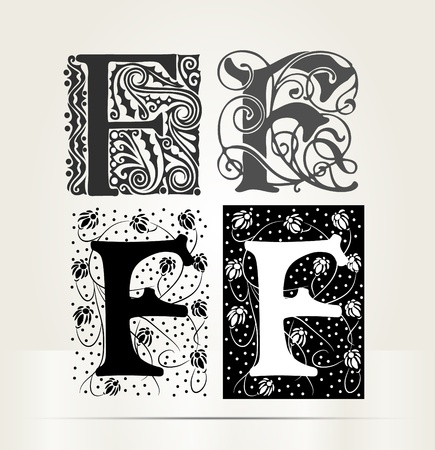letter f: Vector ornamental letter F sign alphabet