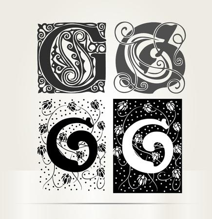 g: Vector ornamental letter G sign alphabet