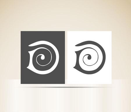 Letter D art deco alphabet Illustration