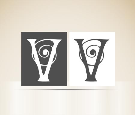letter v: Letter V art deco alphabet