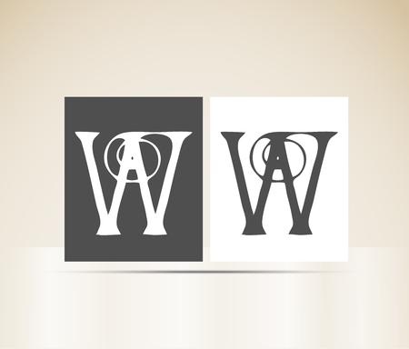 Letter W art deco alphabet