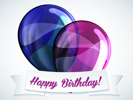 Happy birthday ballons greeting card blue and violet  Vector