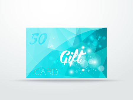 Gift greeting card aqua blue glitter with shine abstract triangle desing vector illustration