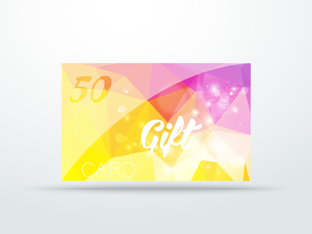 lila: Gift card yellow lila glitter with shine abstract triangle desing vector illustration  Illustration