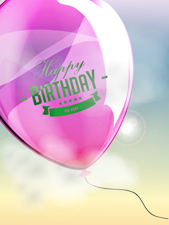 happy birthday balloons: Happy birthday balloons greeting card rose lila illustration