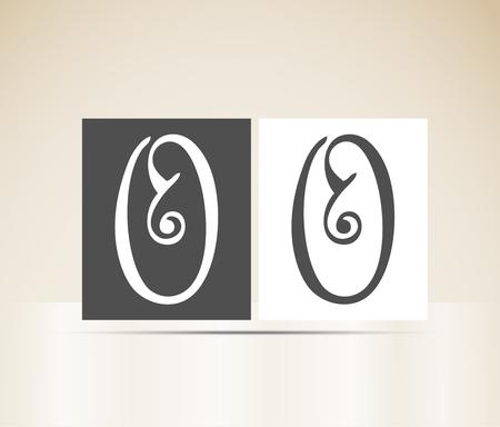 Vector alphabet letter O art deco vintage design pattern