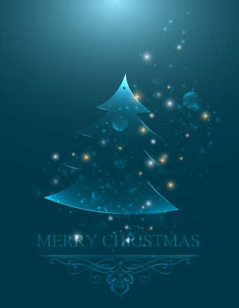 Christmas greeting card postcard illustration with shine design