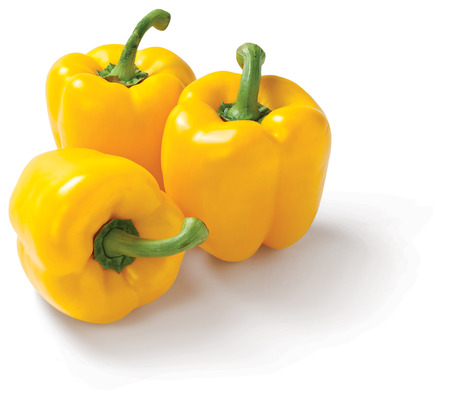 Yellow pepper on white background fresh vegetable