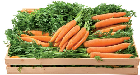 Carrot sweet vegetables in a box healthy food