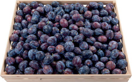 Sweet plums in a box background food