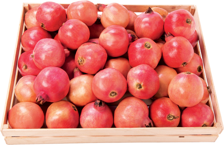 Pomegranate fruit in a box raw food background Stock Photo