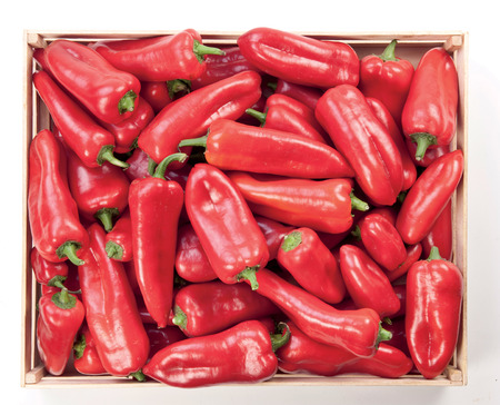 Red pepper in a box background food vegetable
