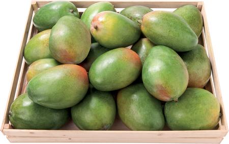 Sweet mango in a box background fruit raw