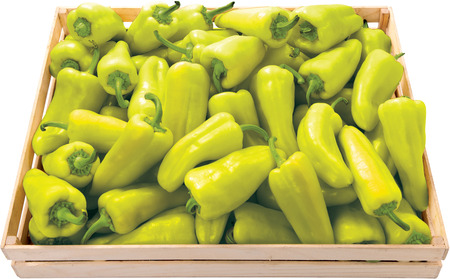 Green pepper in a box background food vegetable