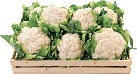 Cauliflower raw food vegetable in a box background