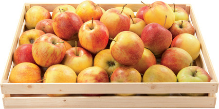 Sweet apples in a box autumn fruit food raw healthy