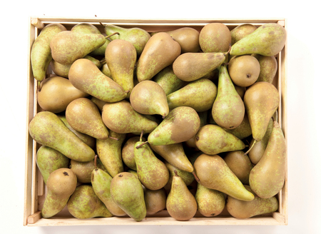 Pears in a box juicy fruit background