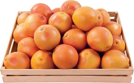 Juicy oranges in a box fruit food background